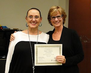 Ms. Diane receiving a certificate of completion of the three levels of Somatic Voicework™ with with Founder, Jean LoVetri.